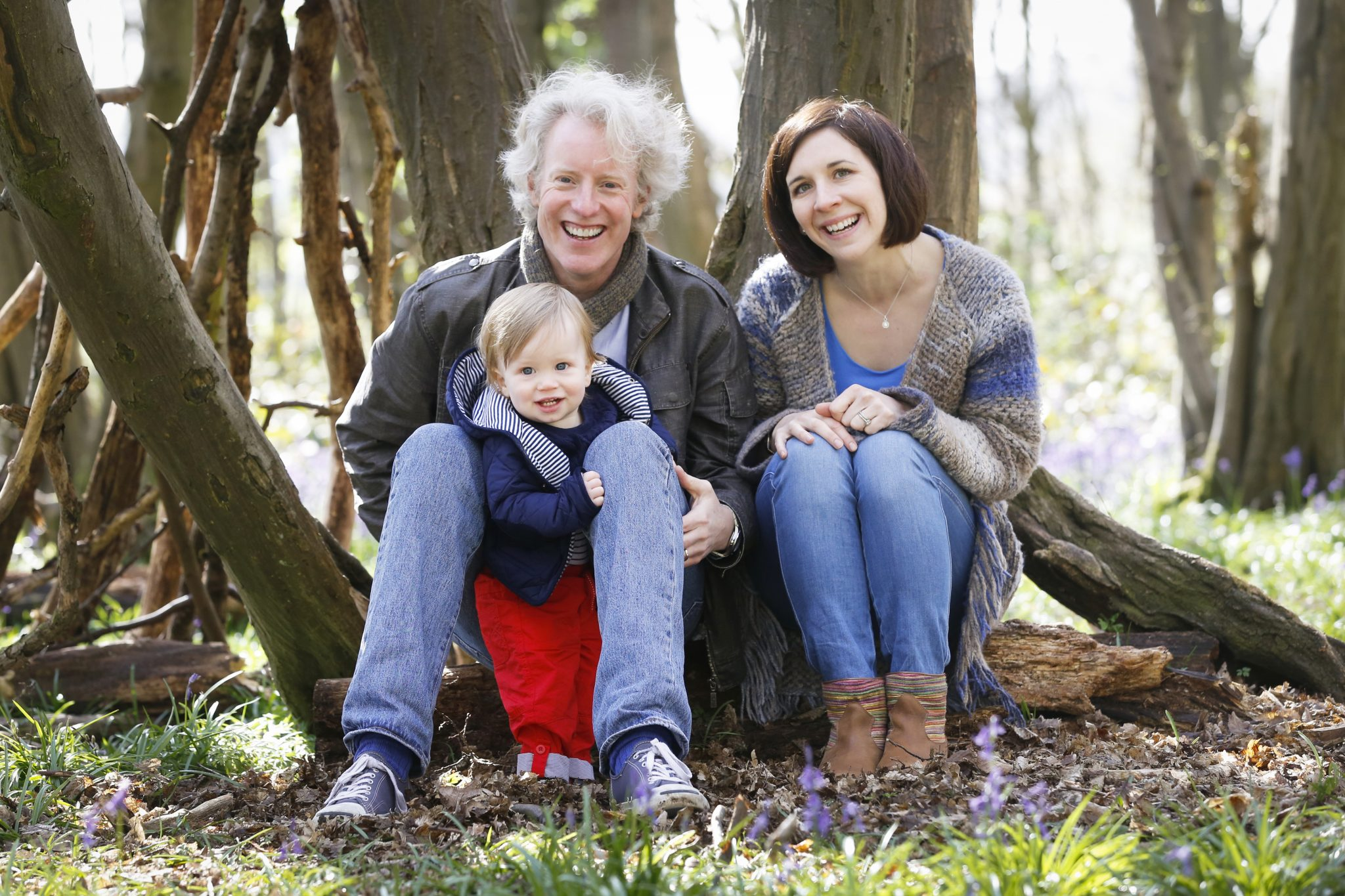 family in the bluebell woods