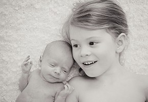Newborn and sibling shoot at the studio