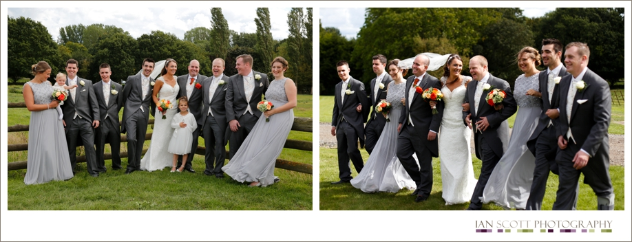 bridal party walking