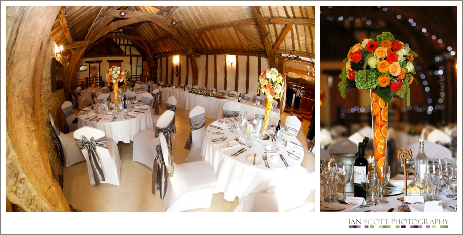table displays at wedding in notley tythe barn