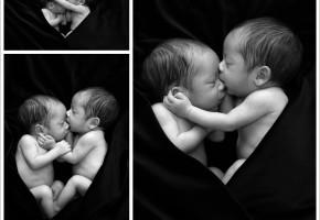 newborn twins wrapped together cuddling