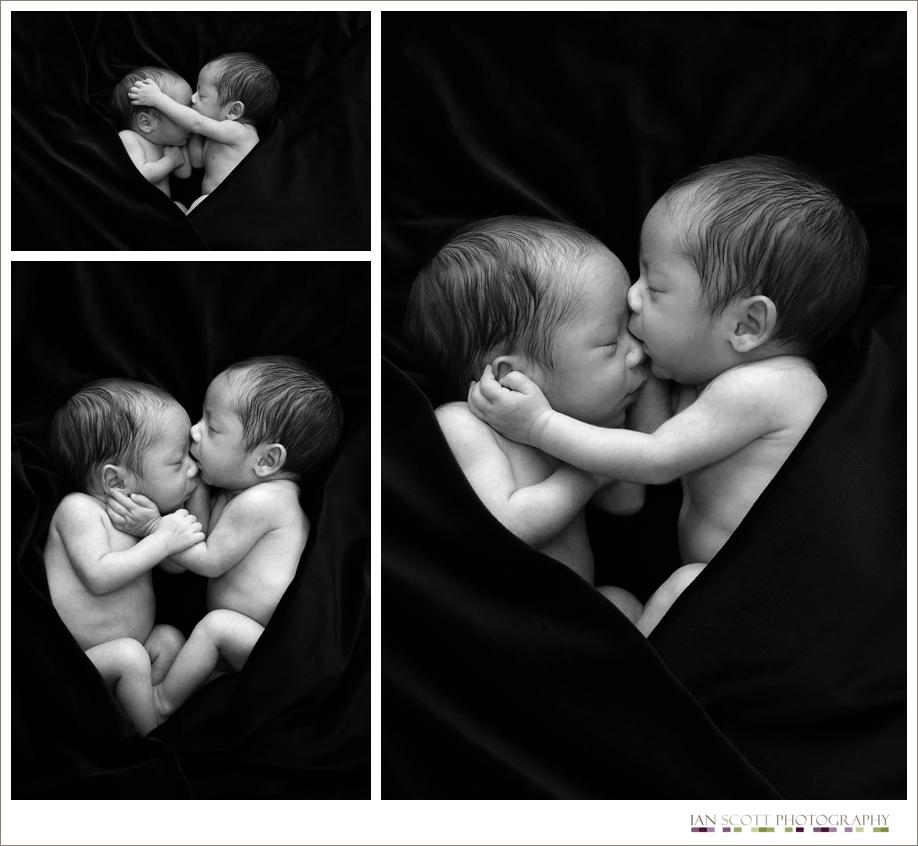 newborn twins wrapped together cuddling