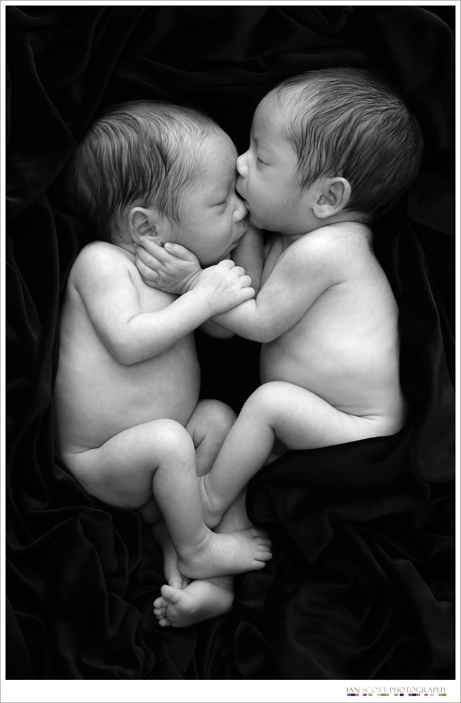 Black and white photograph of newborn twins