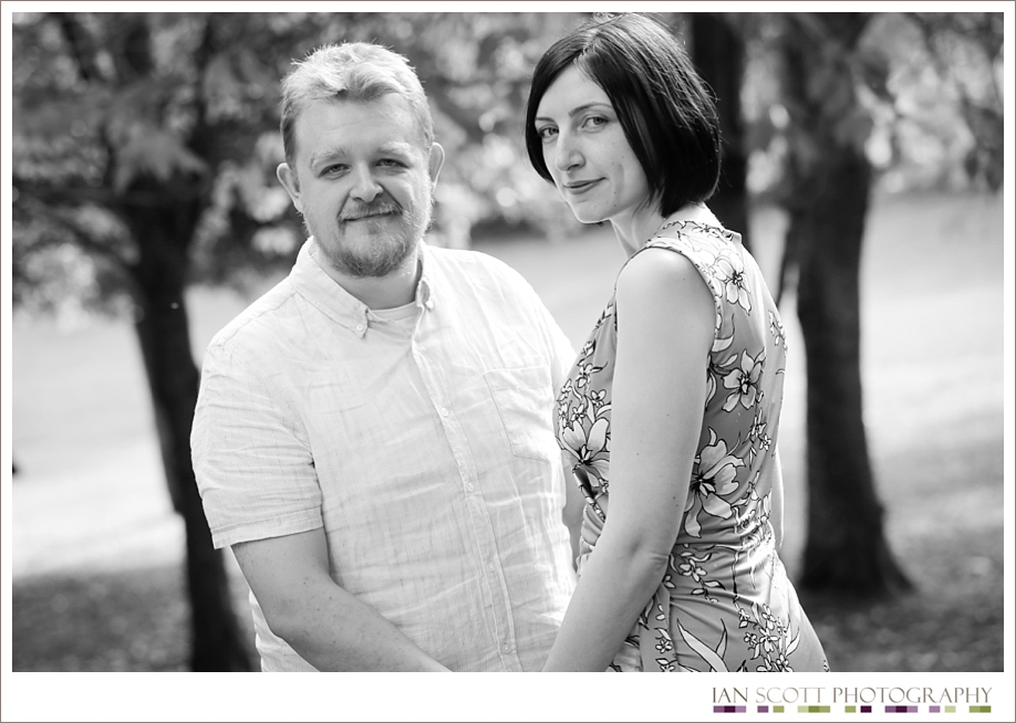 Happy engaged couple at Leez Priory