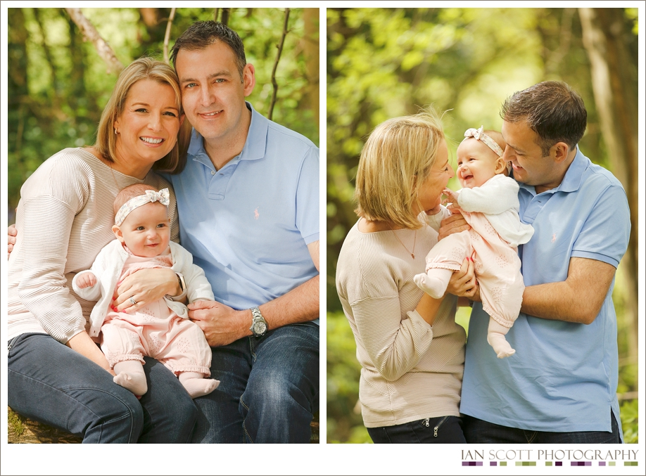 family photos in bluebell wood
