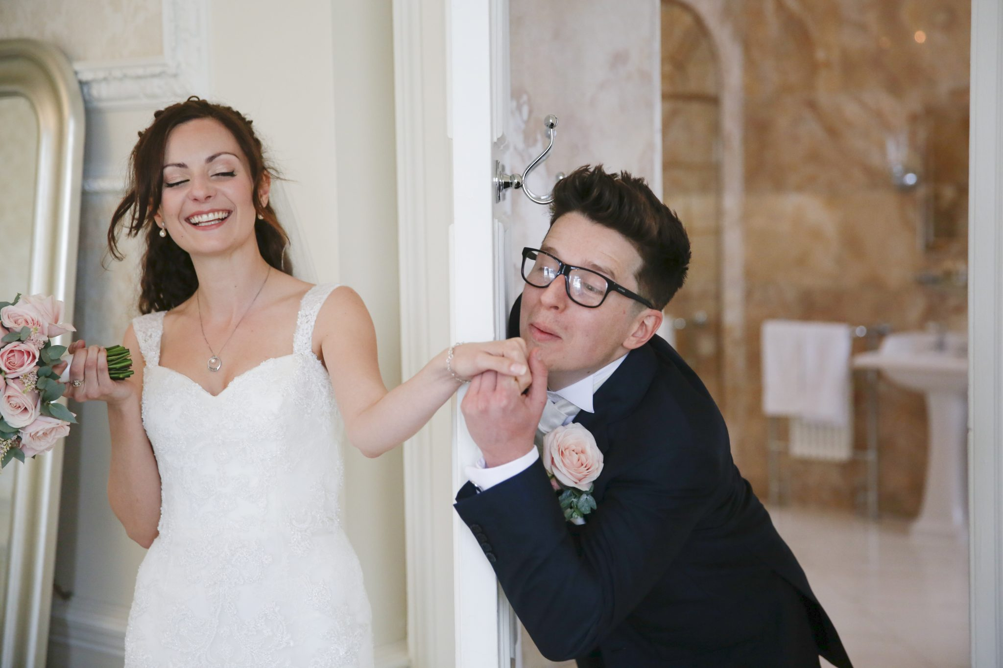 bride and groom at Hedsor House