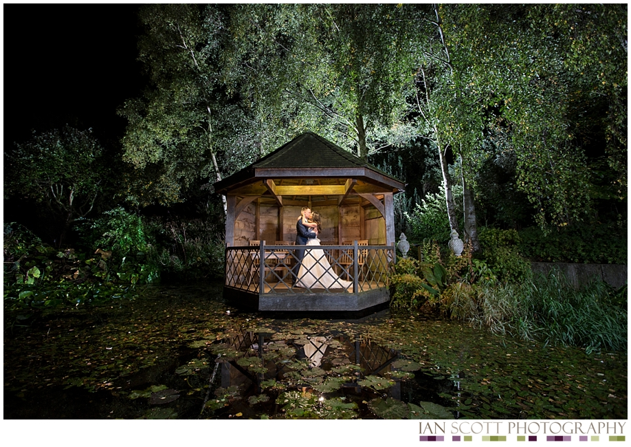night time shot of bride and groom at South Farm