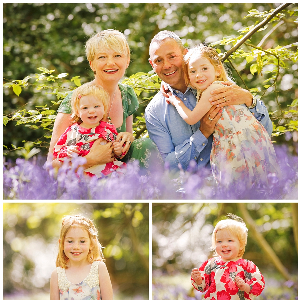 Family photos in bluebell wood, Harpenden, Herts