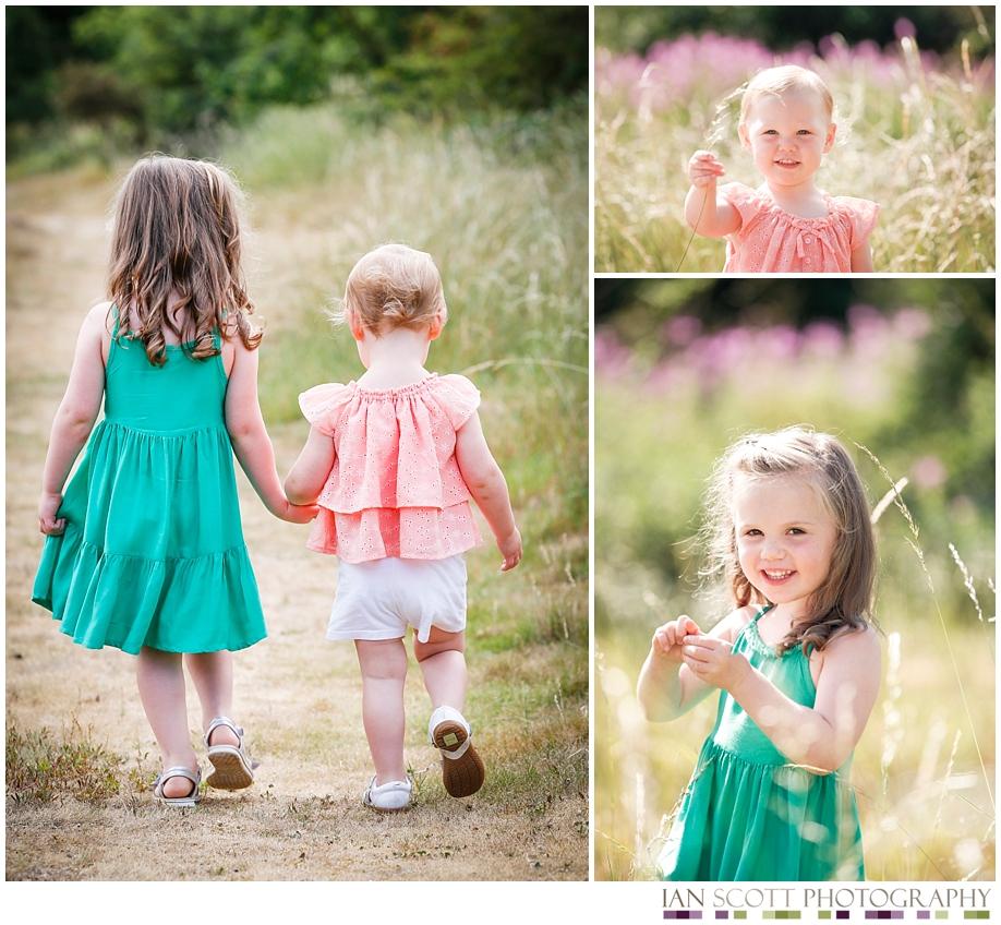 girls walking in field