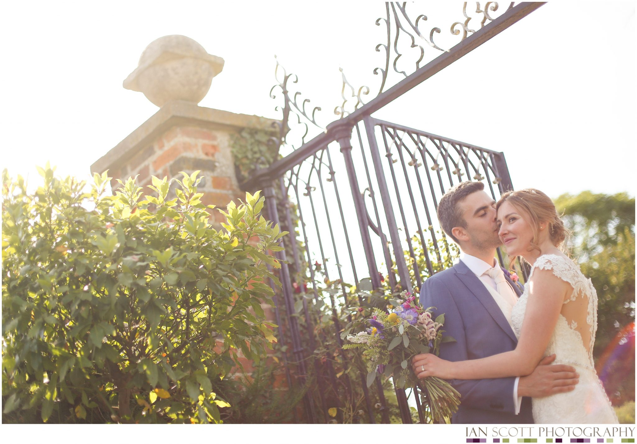 bride and groom in evening sunlight
