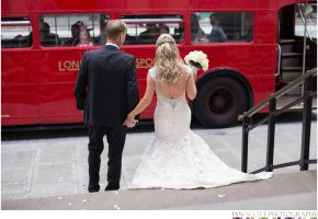 bride and groom and London route master