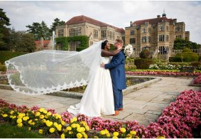 bride and groom at Fanhams Hall